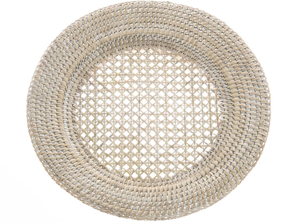KOUBOO Round Rattan Charger Plate, White Wash (Pack of 2)