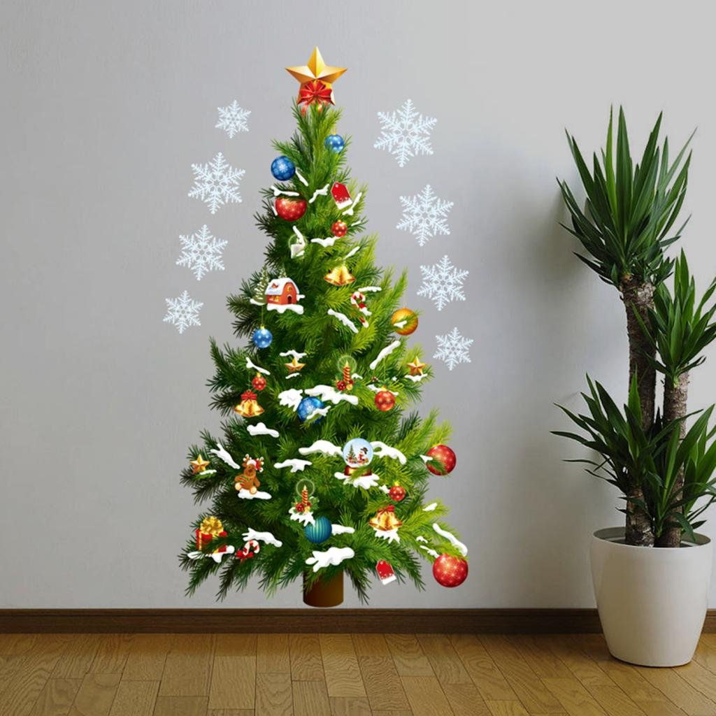 Merry Christmas Home Decor Vinyl Wall Sticker, Christmas Tree and ...