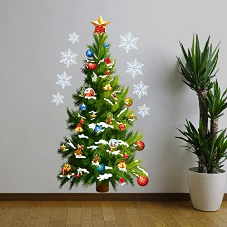 Brccee Ac Merry Christmas Home Decor Vinyl Wall Sticker Christmas Tree And Christmas Gifts Christmas Star Snowflakes Wall Decals