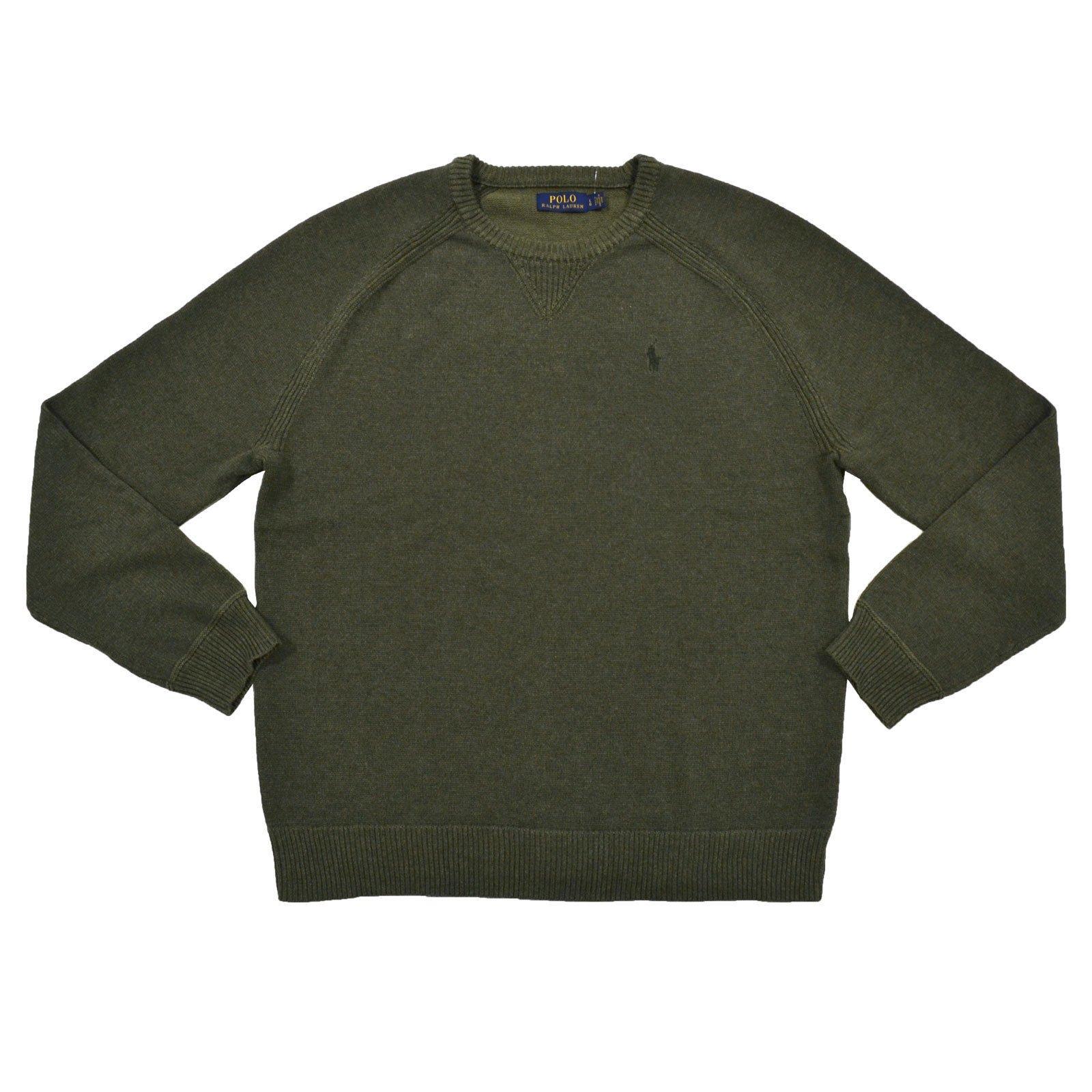 Polo Ralph Lauren Mens Crew Neck Pullover Sweater (L, Green)
