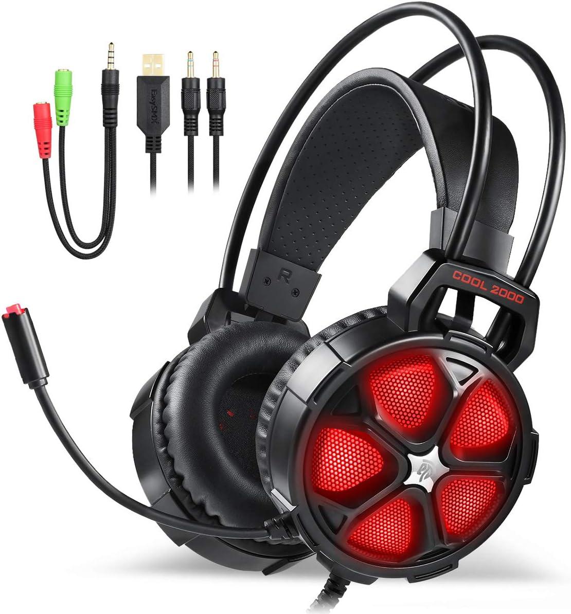 EasySMX [Virtual 7.1 Sonido] 2.4GHz Auriculares Gaming Inalámbricos de Diadema para PS4 PC Switch y Mac con Batería Recargable y Desmontable Mic: Amazon.es: Electrónica