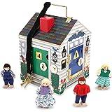 Melissa & Doug Take-Along Wooden Doorbell Dollhouse - Doorbell Sounds, Keys, 4 Poseable Wooden Dolls