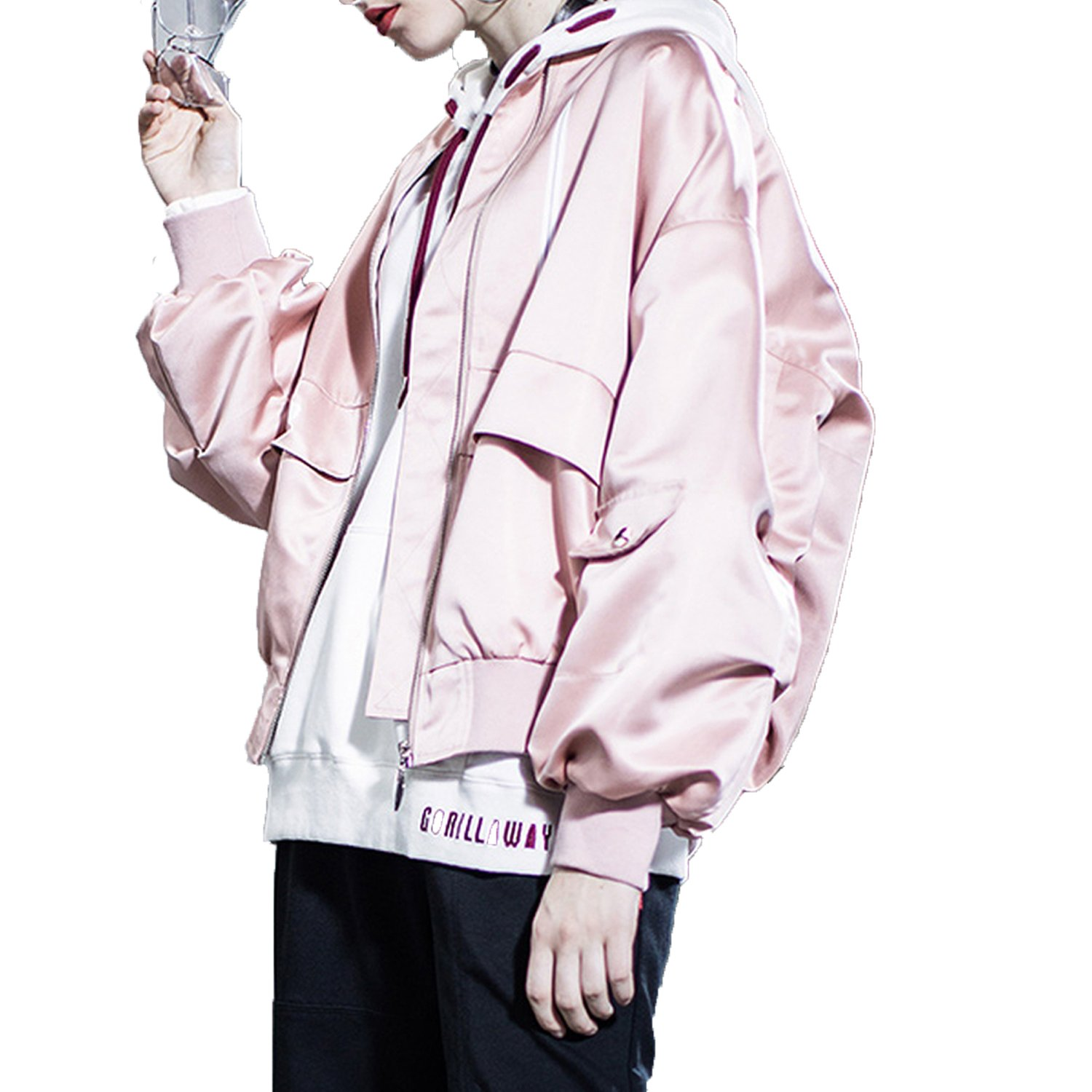 2018 Spring Pink Baseball Uniform Wind Baseball Satin Short Coat Jacket Ins Super Fire,L (Pre-Sale About 3 Days),Pink Thick