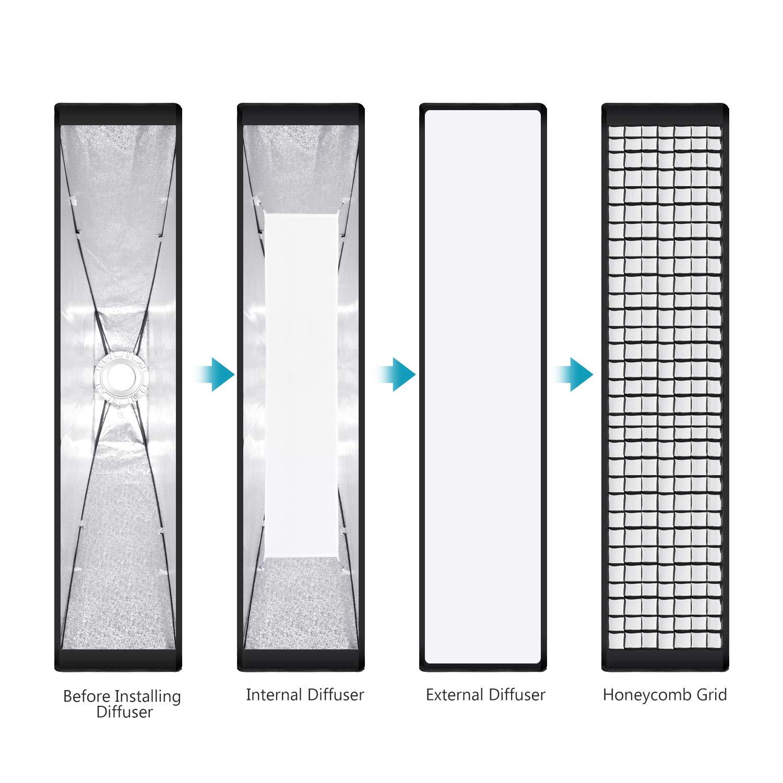 Neewer 2 Pez Softbox Griglia a Nido dApe 35 x 160 centimetri con Bowens Montaggio Acceleratore per Speedlite Studio Flash Monoluce Ritratto e Fotografia del Prodotto