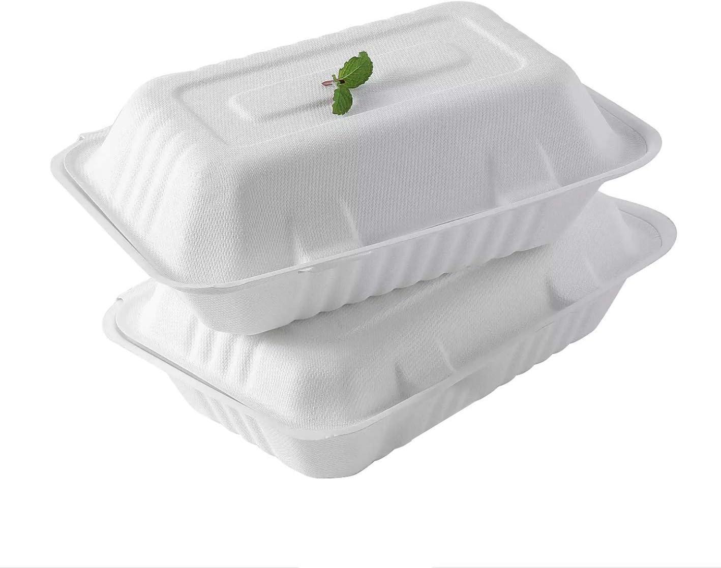 Paco Ecological 25 Pezzi Contenitore compostabile biodegradabile dasporto con Coperchio 23cm x 15cm