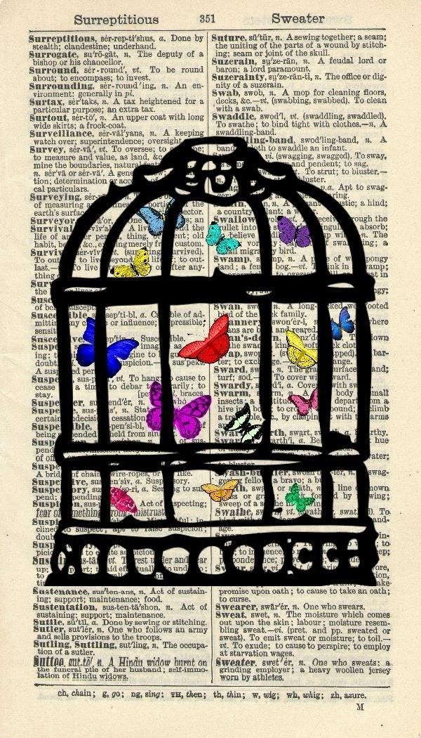 BUTTERFLIES IN A BIRDCAGE ART PRINT - VINTAGE ART PRINT - Botanical Art Print - Illustration - Vintage Dictionary Art Print - Wall Hanging - Home Décor - Housewares - Book Print - WALL ART - 250B Vintage Reflectionz