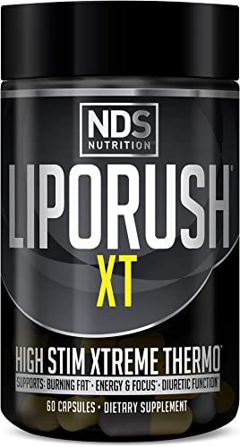 NDS Nutrition LipoRush XT – Super Concentrated Thermogenic with L-Carnitine and Teacrine for Shredding Fat – Supports Maximum Energy, Focus, Calorie Burning, Diuretic, Appetite Control 60 Capsules
