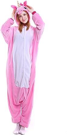 Unicornio Pijamas Unisex Adulto Cosplay Disfraz de Halloween Animal Pijamas Mono de Invierno Unisex Animales