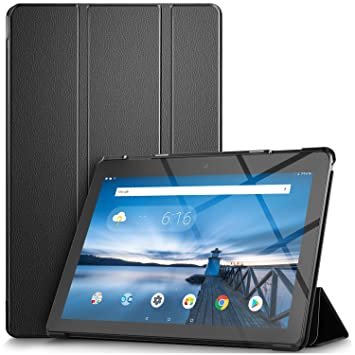 IVSO Funda Carcasa para Lenovo Tab E10, Slim PU Protectora Carcasa Cover para Lenovo Tab E10 10.1 Pulgadas, Negro