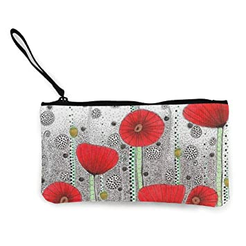 Amazon.com: Coin Pouch Poppy Drawing Red Canvas Coin Purse ...