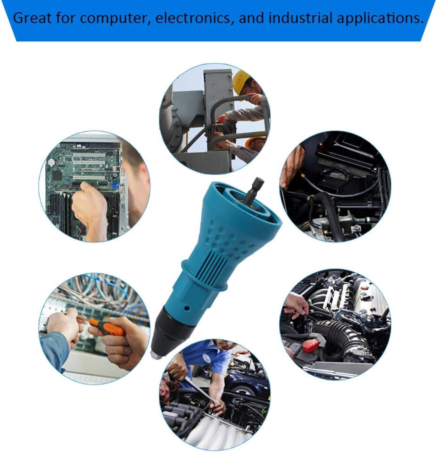 kit dadaptation pour perceuse buse d/échange pour /écrou d/étachable Noir outil de rivetage durable Riveteuse /électrique pistolet /à riveter portable