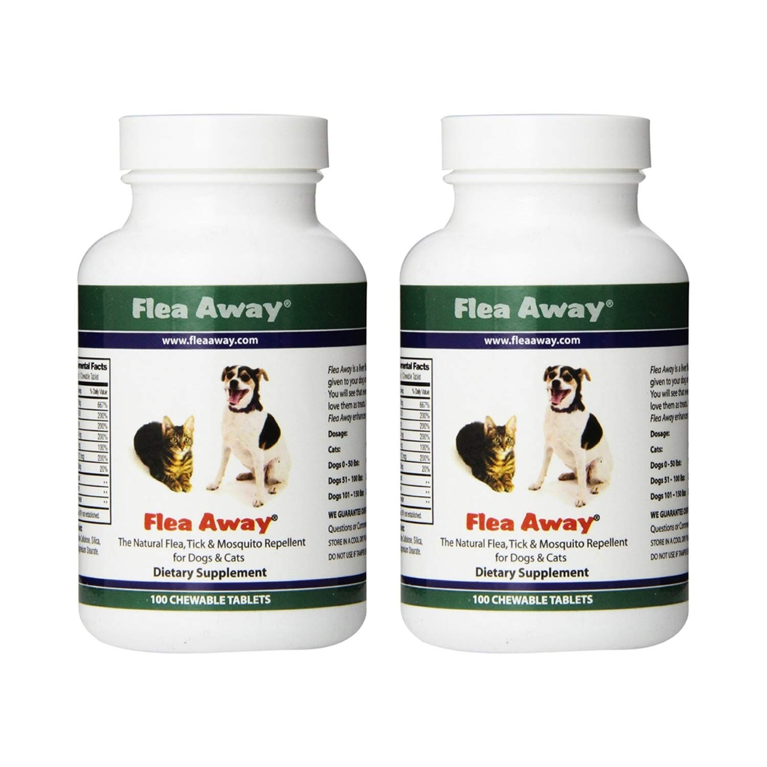 Flea Away All Natural Flea, Tick, and Mosquito Repellent for Dogs and Cats, 100 Chewable Tablets, 2 Pack by Flea Away