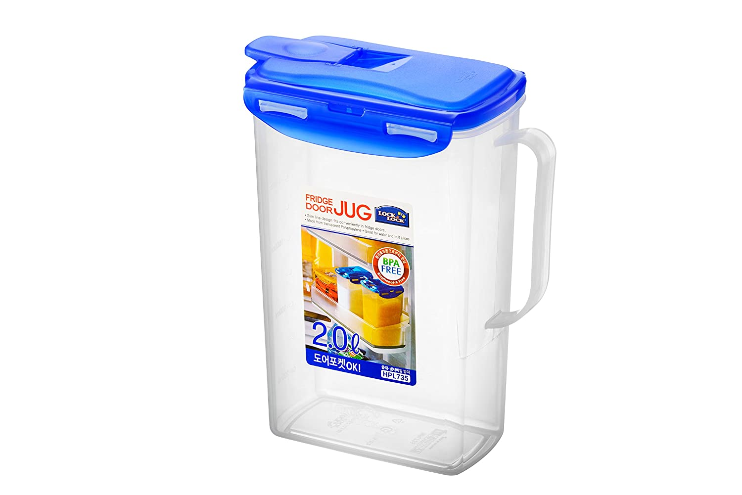 Lock & Lock Rectangular Fridge Door Jug - Clear/Blue, 2 L HPL735
