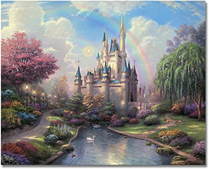 Rainbow over Castle Frameless DIY Painting By Numbers Kits