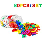 Toddler Toy Aphabet Magnetic Letters Numbers and Symbols Educational Toys and Teaching Aid for Preschool Kids 80 PCS with Bucket