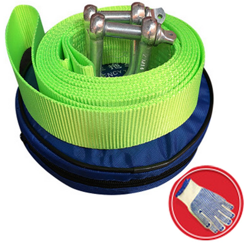 HYLONG Tow Rope,Towing Belt Tow up to 5 Ton, 3.8 Meters Long, Nylon Recovered Heavy Duty Towing Truck