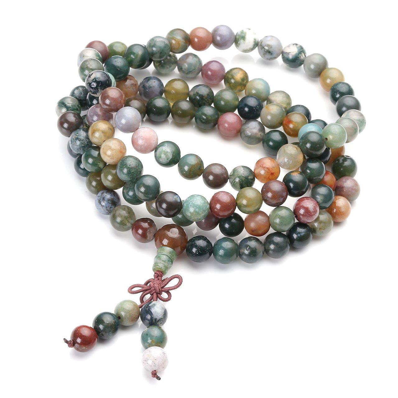 Jovivi 108 Mala Prayer Beads Necklace 8mm Natural Indian Agate Gemstone Healing Crystal Stone Strech Bracelets by Jovivi