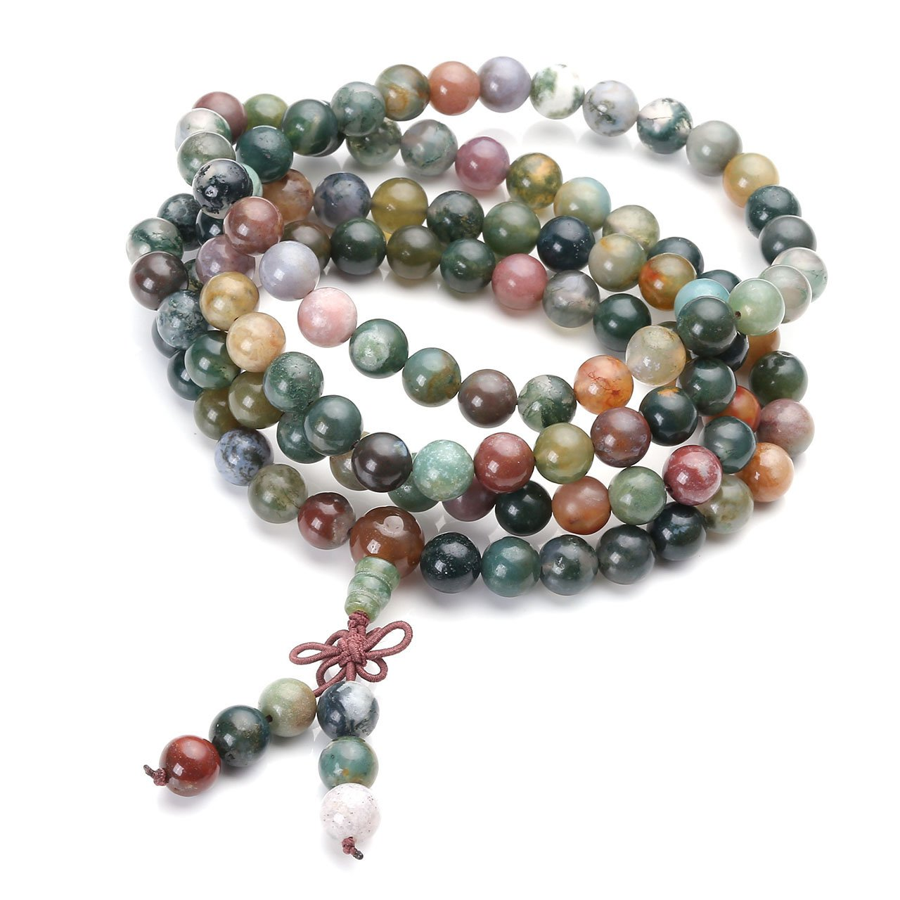 Jovivi Tibetan Buddhist Natural Indian Agate Gemstone 8mm 108 Prayer Mala Beads Bracelet Necklace AJ1010104809