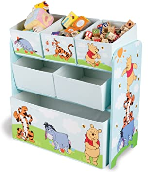 Winnie the Pooh Childrens Toy Organizer Storage Bin, Figures