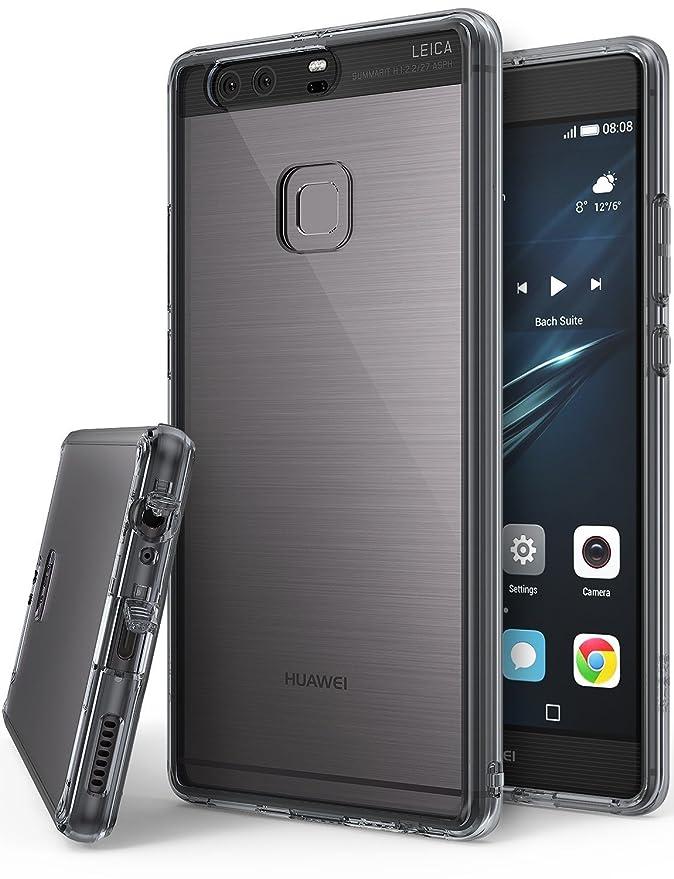 Ringke Funda para Huawei P9 Plus, [Fusion] Protector de TPU con Parte Posterior Transparente de PC Caso Protectora biselada - Negro Humo Smoke Black