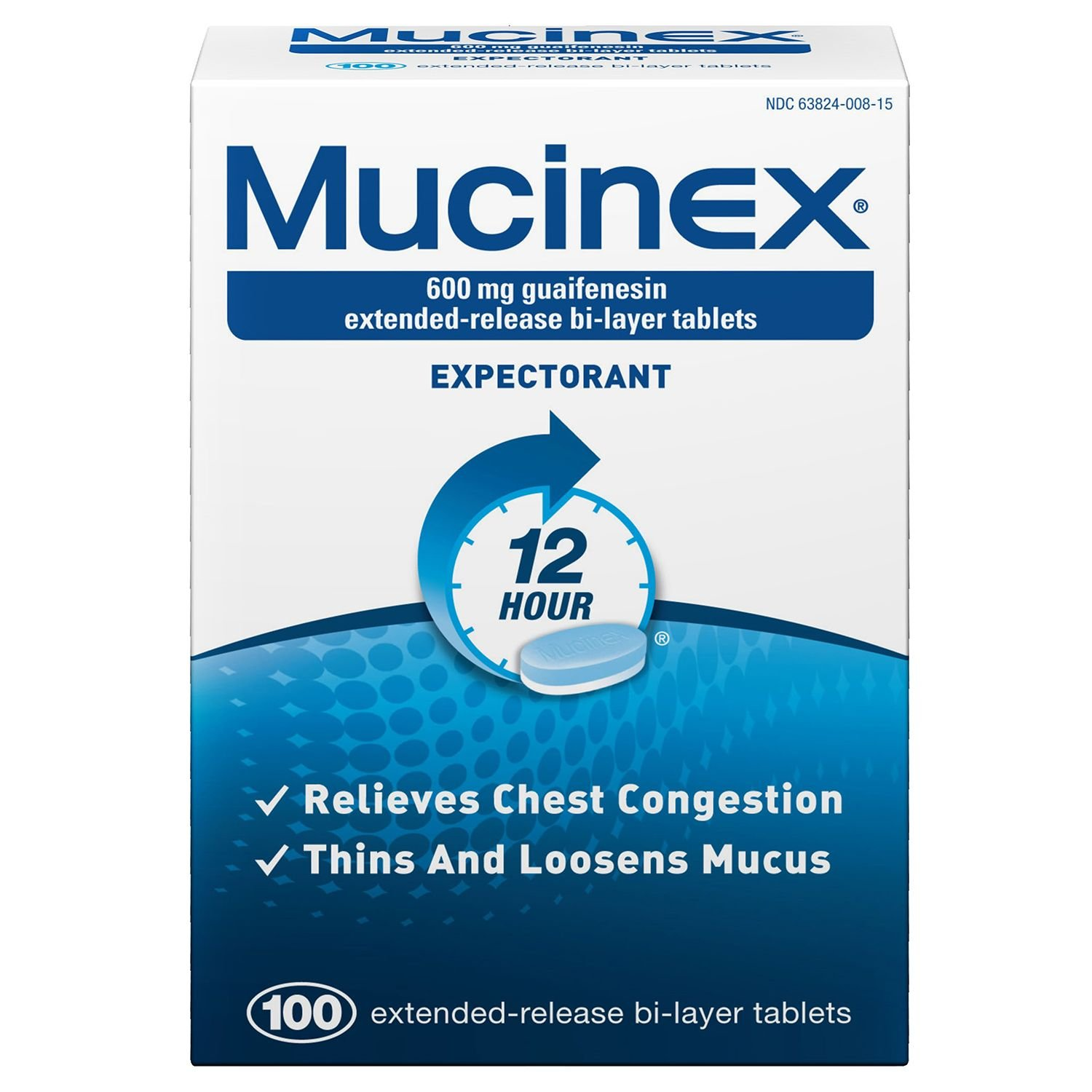 Mucinex Mucinex Extended-Release Bi-Layer, 100 tabs 600 mg(Pack of 2) by Mucinex
