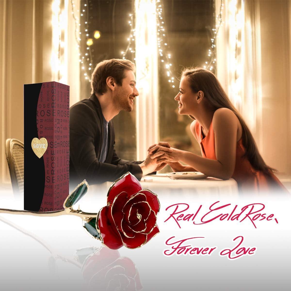 Or Rose Artificielle Eternelle Plaqu/é Fleur avec Bo/îte Cadeau pour la Saint Valentin la F/ête danniversaire la F/ête des M/ère Color/é De Roses en Feuille dor 24K