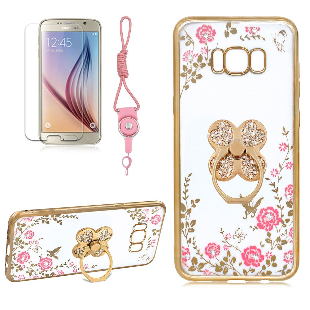 Case For Samsung Galaxy S8 PLUS, Girlyard [Secret Garden] Thin Clear Diamond Case Cover Gold Frame Rose Floral Butterfly Bling Shiny Glitter Plating Case with Clover 360 Degree Rotating Ring Stand