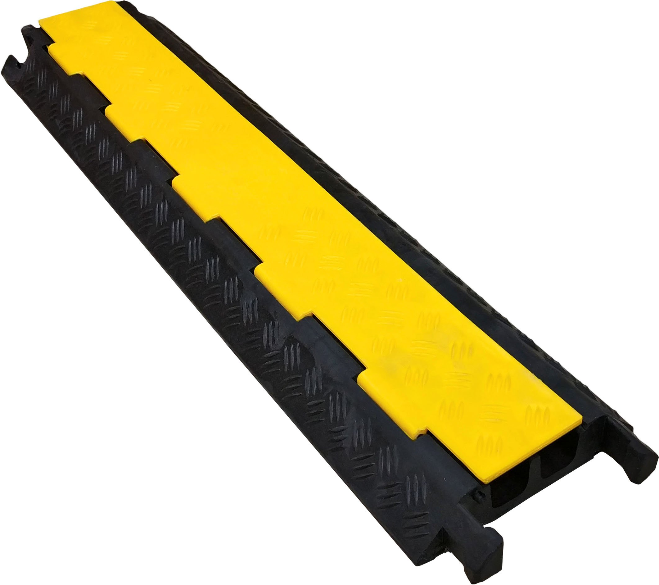 2 Channel Economical Rubber Cable Protector - 3FT Black with Yellow Lid