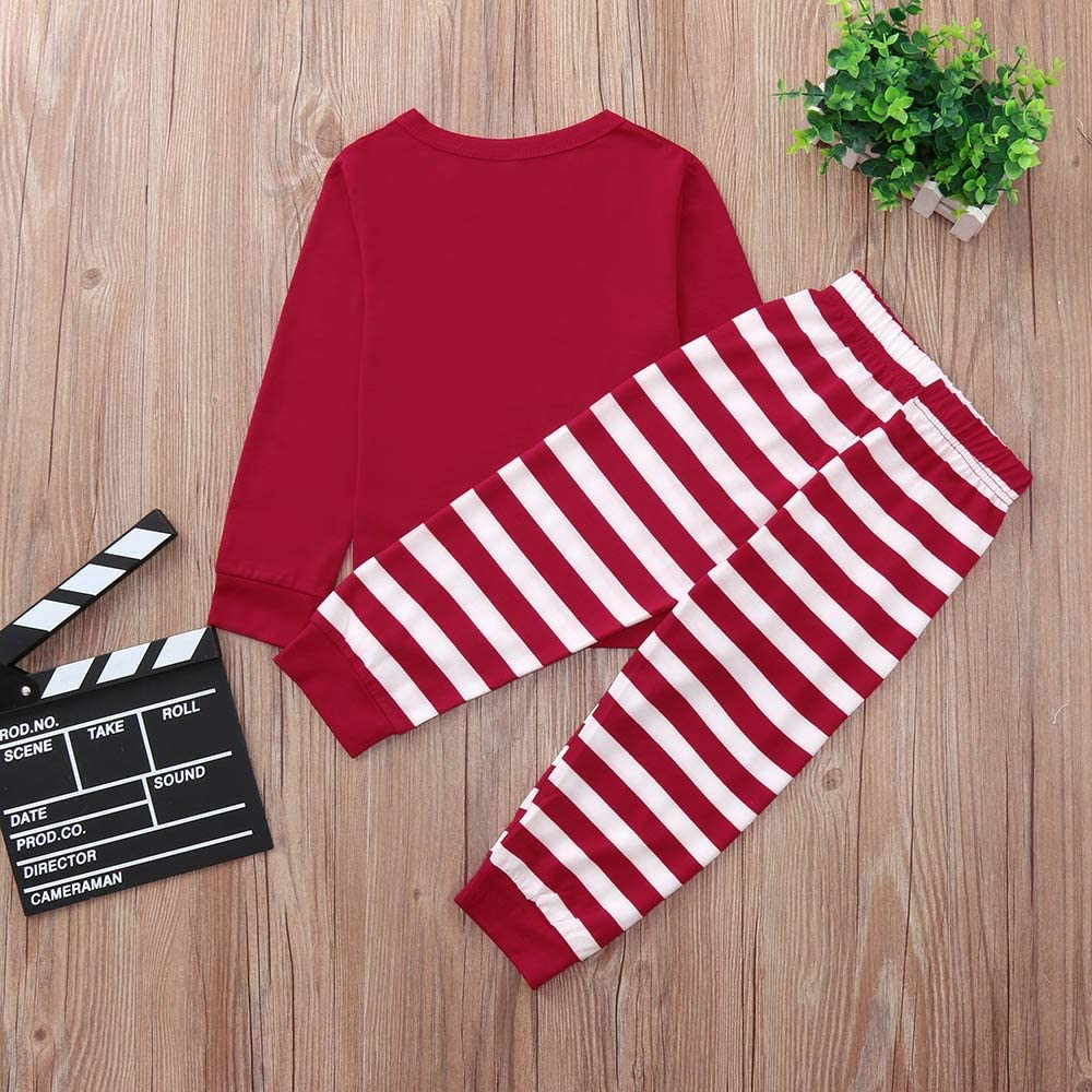 Christmas Mommy/ &Daddy&Me Children Boys Girls 12 Months-7T,Striped Letter Family Set Clothes Red