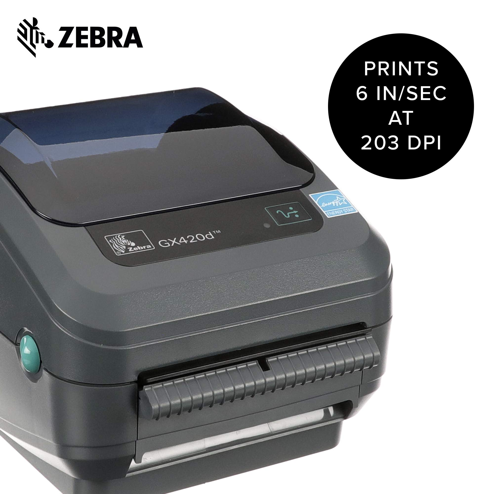 Zebra - GX420d Direct Thermal Desktop Printer for Labels, Receipts, Barcodes, Tags, and Wrist Bands - Print Width of 4 in - USB, Serial, and Ethernet Port Connectivity (Includes Peeler) by ZEBRA (Image #2)