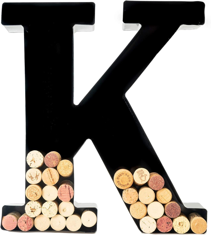Wine Cork Holder - Metal Monogram Letter (K)