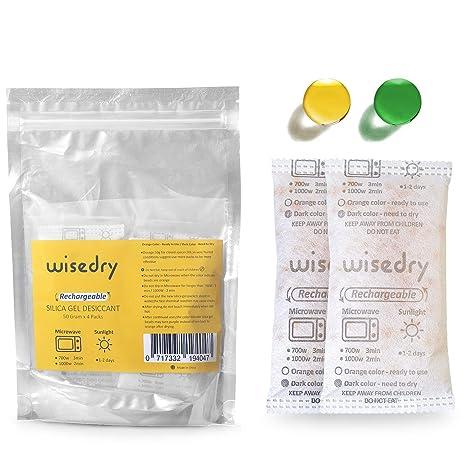 wisedry 50 Gramos[4 Paquetes] Gel De Sílice bolsitas Desecante Reutilizable con Microondas Reactivado rápido En 2mins & Naranja a Verde Que Indicador ...