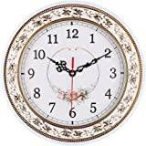 Foxtop 11 inch Resin Floral Wall Clocks for Living Room Kitchen Home Decoration, Vintage Style Clocks