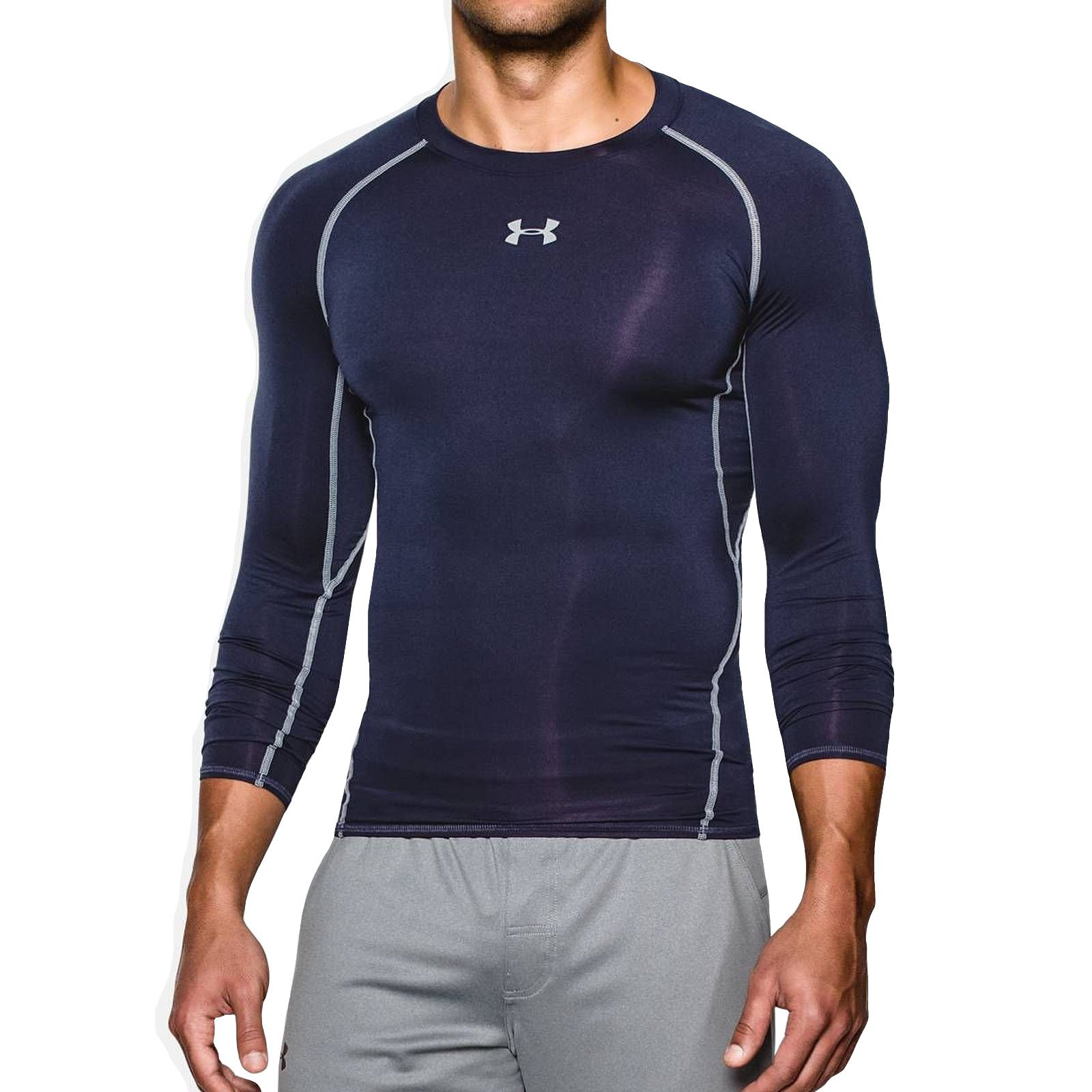 Under Armour Men's HeatGear Armour Long Sleeve, Navy Blue, S-R