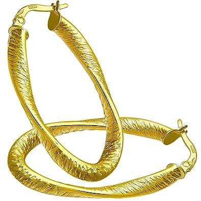 Citerna Diamond Cut Oval Hoop 9 ct Yellow Gold Earrings 0FwTYPuDP1