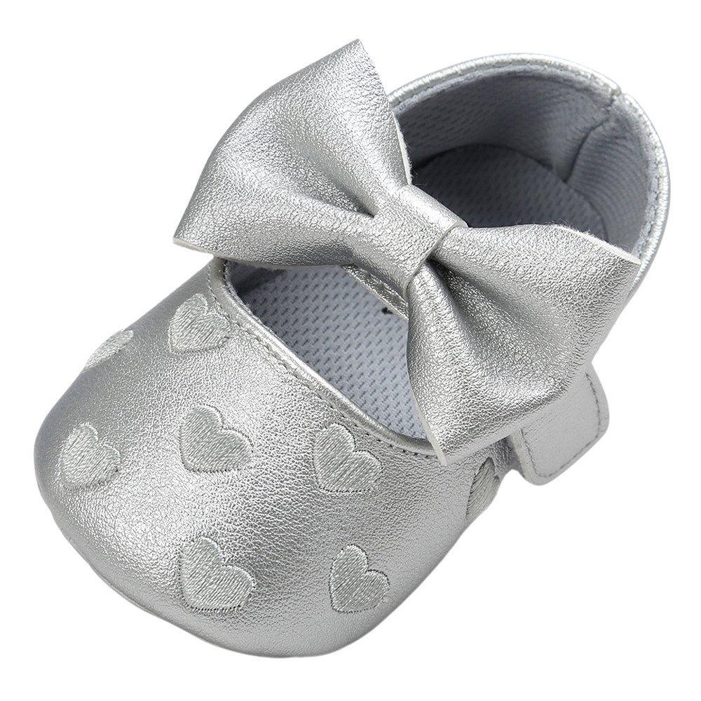 Fossen Zapatos Bebe Niñ a Primeros Pasos Zapatos de Princesa Arco Bordado en Forma de Corazon para Recié n Nacido 0 a 18 meses