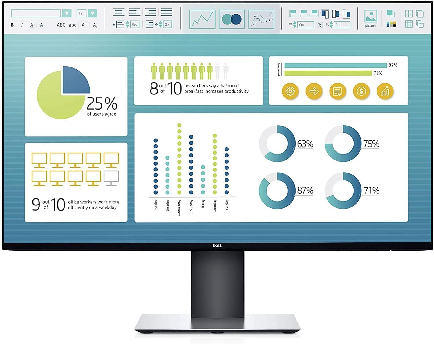 Dell Ultrasharp 27-Inch WQHD 2560x1440 Resolution IPS Monitor with Infinity Edge Bezels, HDMI, DisplayPort, USB 3.0, Black