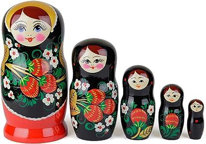 Matrioske Russe, 5 Matrioska Stile Hohloma   Babushka in Legno Giocattolo Regalo, Disegno con Foglie Nere e Dorate e Bacche Rosse, Realizzata a Mano in Russia   Hohloma, 5 Pezzi, 17 cm: