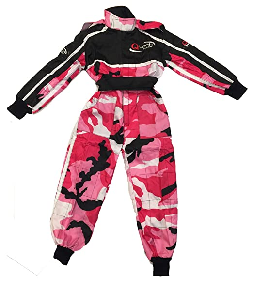 XL Qtech Childrens Racing Suit Limited Edition for kids Motocross ATV Karting and General Usage with Ankle Cuffs Black