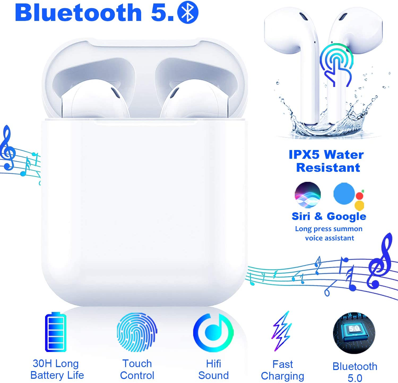 Auriculares Bluetooth 5.0 Auriculares Inalambricos Cascos Bluetooth Headphone Deportivos Estéreo con Mic y Cancelación de Ruido Caja de Carga - Auriculares Compatible con iPhone Airpods/Samsung/Apple