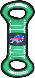 NFL Football Field DOG TOY with Squeaker. - BUFFALO BILLS - For Tug, Toss, and Fetch. - Tough & Durable PET TOY