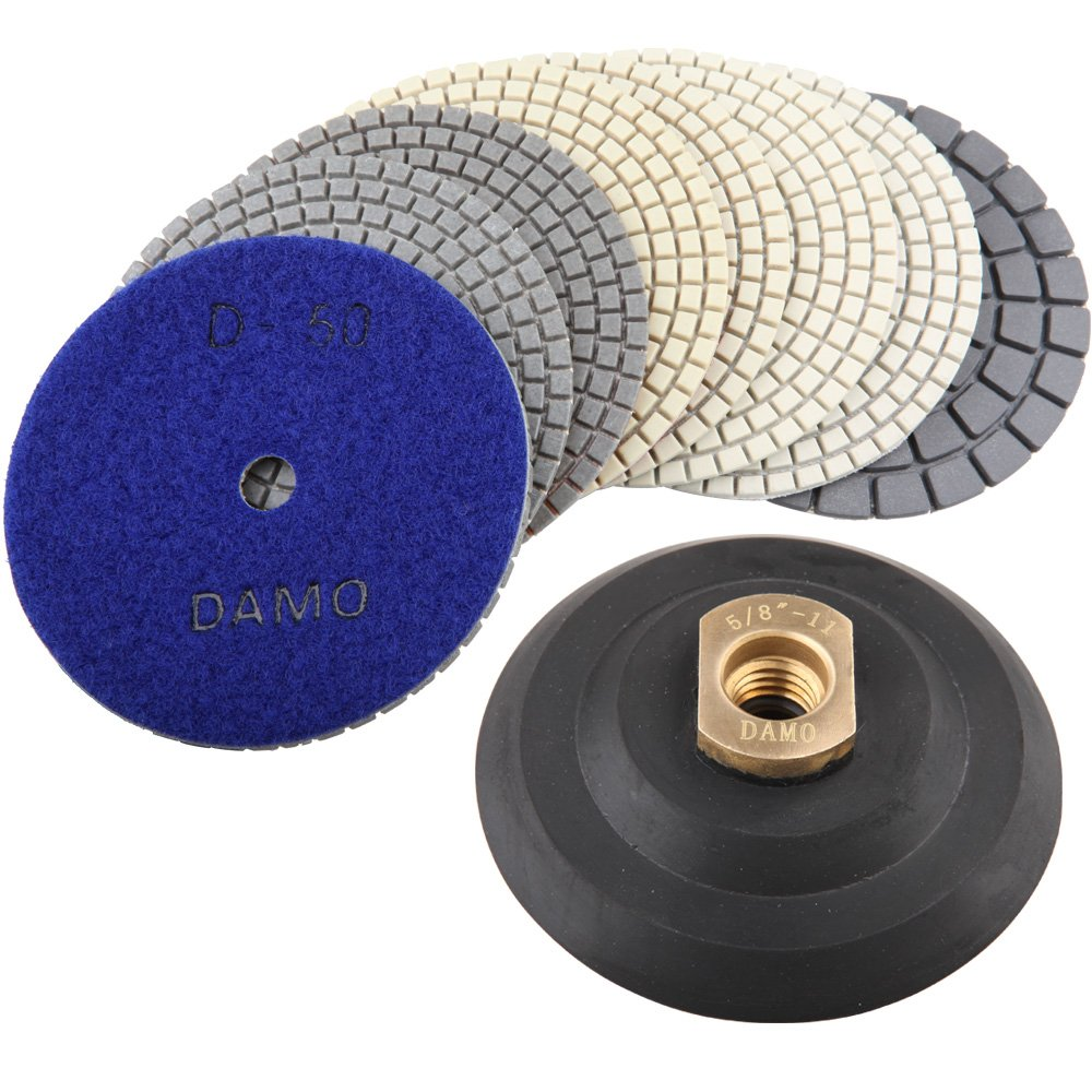 4'' Dry Diamond Polishing Pads Set of 8 PCS with Black Buff and Back Holder