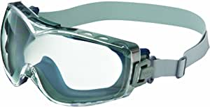 Uvex Stealth OTG Safety Goggles with Anti-Fog/Anti-Scratch Coating, UVXS3970D, Neoprene Headband, Navy Body, Clear Lens