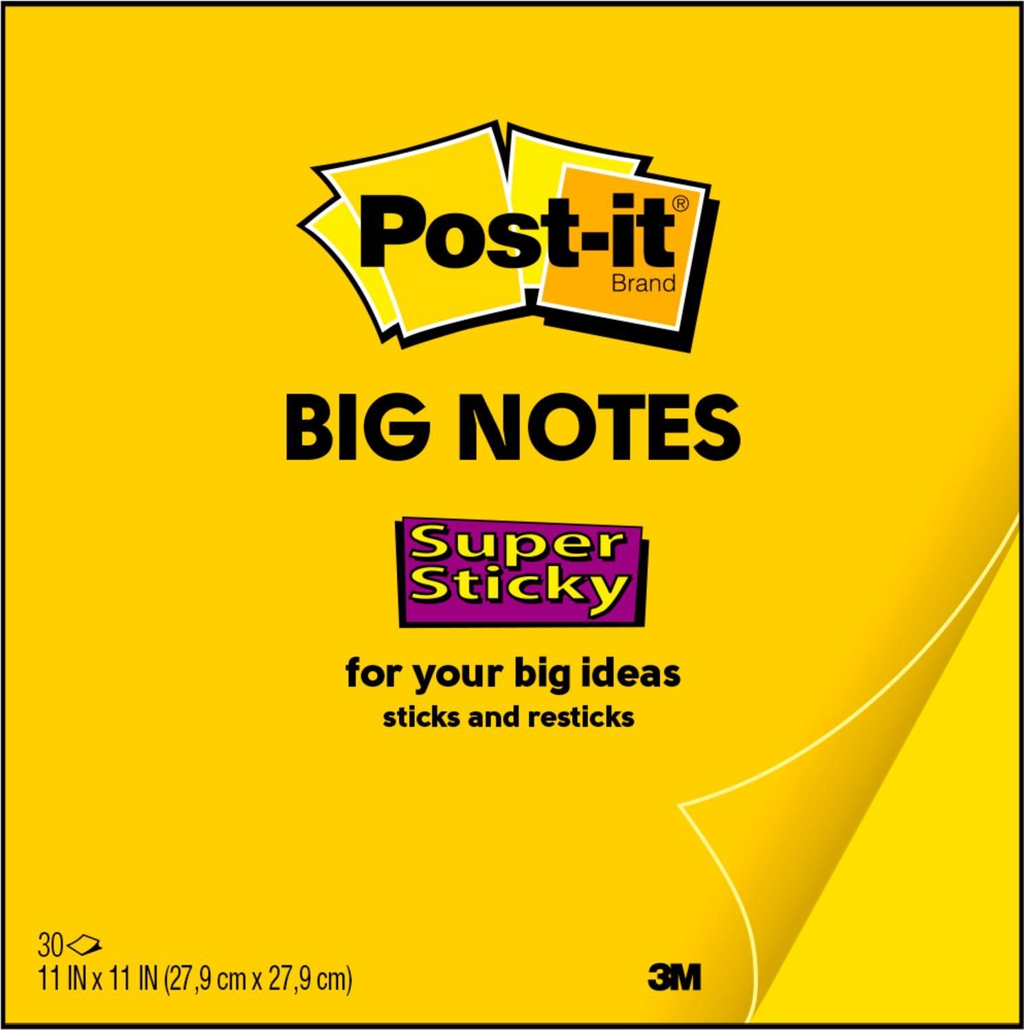 Amazon.com : Post-it Super Sticky Big Notes, 11 x 11 Inches, 30 ...
