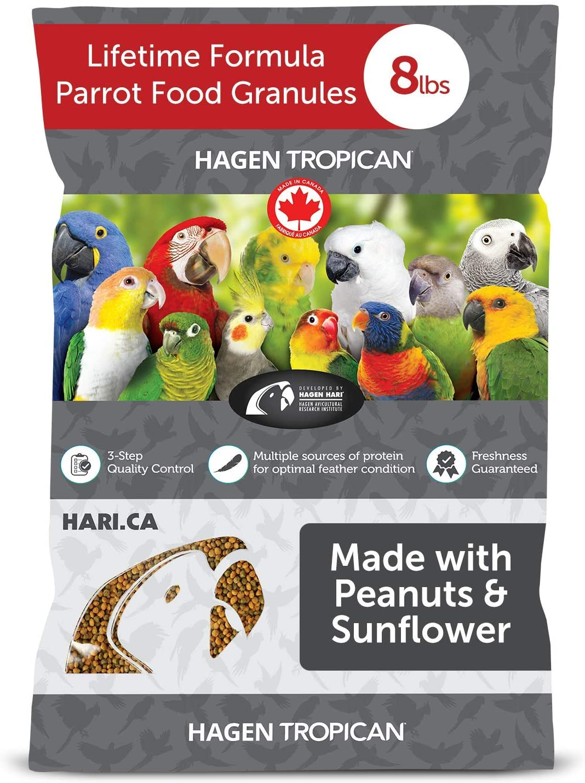 Hari Tropican Bird Food, Hagen Parrot Food with Peanuts & Sunflower Seeds, Maintenance Parrot Granules