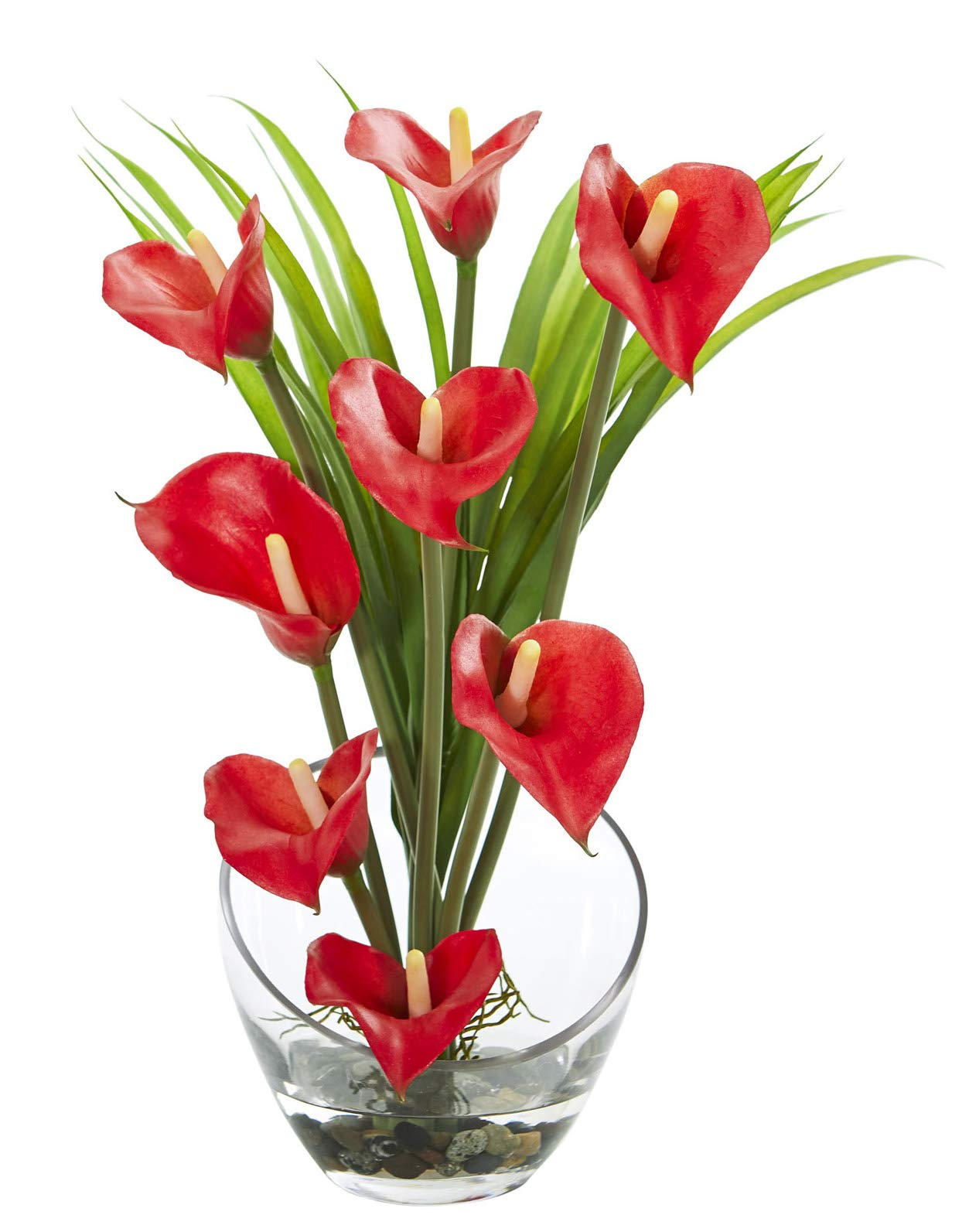 Artificial Flowers -15.5 Inch Red Calla Lily and Grass in Vase Silk Flowers by Artificial Plantz