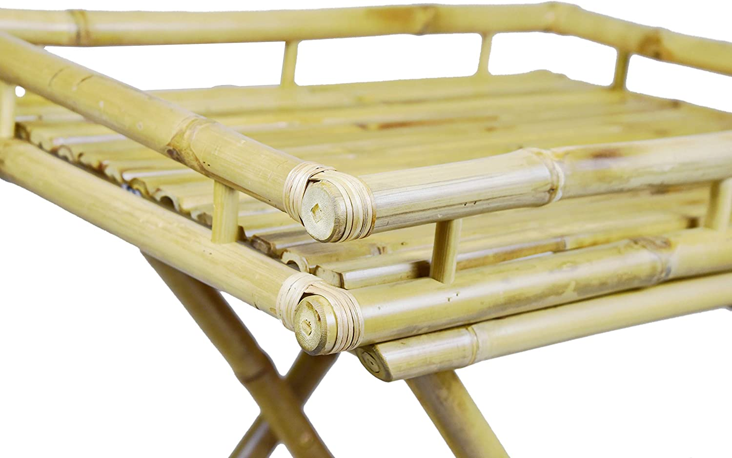 Espresso ZEW Bamboo Butler Table with Removable Serving Tray