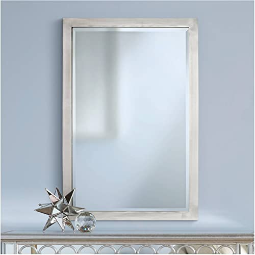 Possini Euro Design Metzeo 33 x 22 Brushed Nickel Wall Mirror