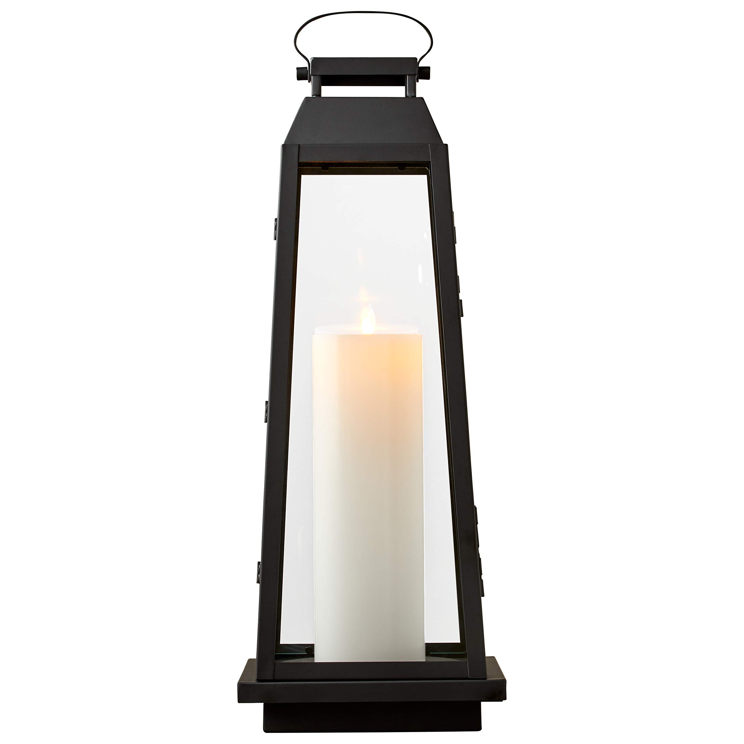 Stone & Beam Modern Traditional Decorative Metal and Glass Lantern with Candle, 25''H, Black, For Indoor Outdoor Use by Stone & Beam (Image #6)