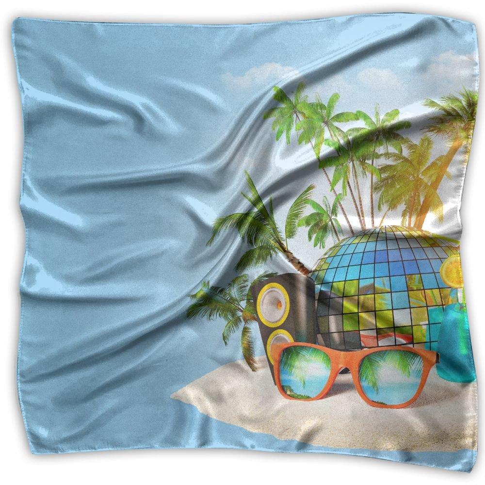 Fashion Lady Tropics Drinks Radio Island Palma Glasses Highball Print Square Kerchief Scarf Head Wrap Neck Satin Shawl by FJSS FASHION